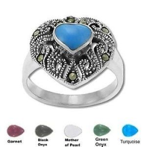 Jewelry - Genuine Marcasite Heart With Stone Ring